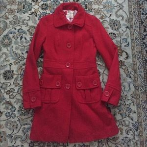 Anthropologie Tulle brand red wool blend coat
